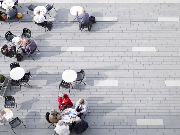 Aerial View Of People Sitting In A Public Area