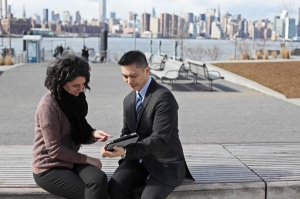 Technology - using an iPad outside PwC office, PwC_R_NYC_Technology_56.jpg